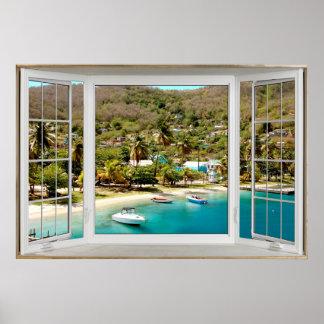 White Bay Window Illusion Carobbeam Poster