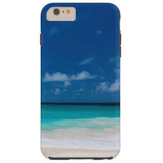 White Beach, Blue Sky and Clouds Tough iPhone 6 Plus Case