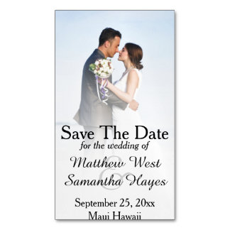 White Beach Mist Photo Wedding Save The Date Magnetic Business Card
