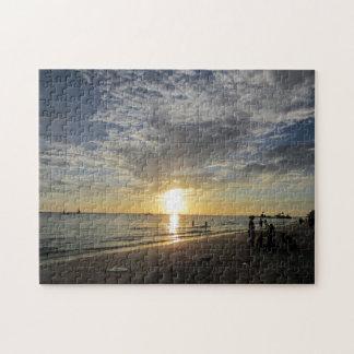 white beach sunset jigsaw puzzle