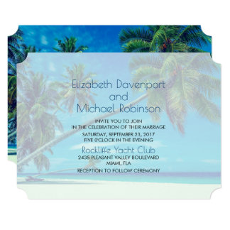 White Beach with Tropical Palms Wedding Card