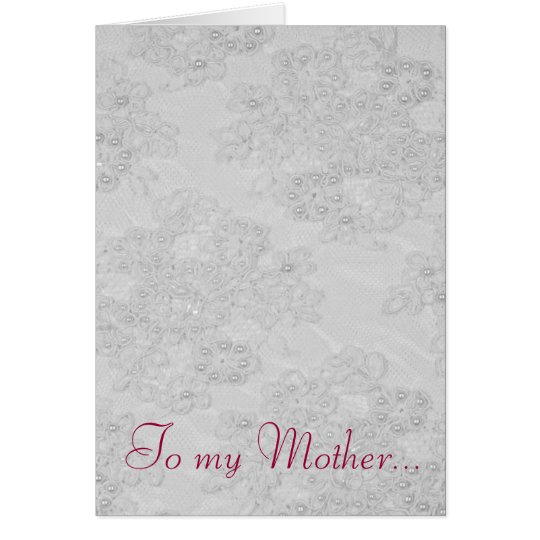 White Beaded Lace Feminine Mother's Day Card