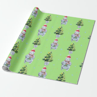 White Bear Holding a Present and Green Tree Wrapping Paper