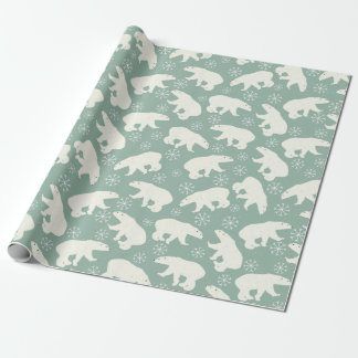 White bears, snowflakes pattern - Christmas gifts Wrapping Paper