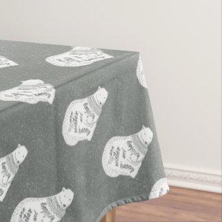 White bears warm winter happy holiday - Xmas Tablecloth