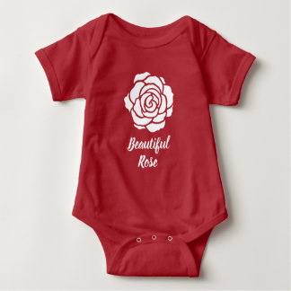 White Beautiful Rose Baby Bodysuit