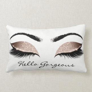 White Beauty Pink Makeup Lashes Hello Gorgeous Lumbar Pillow