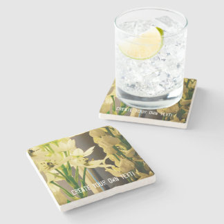 White Bell Flowers Create Your Own Text Stone Beverage Coaster