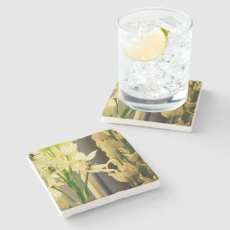 White Bell Flowers Create Your Own Text Stone Coaster