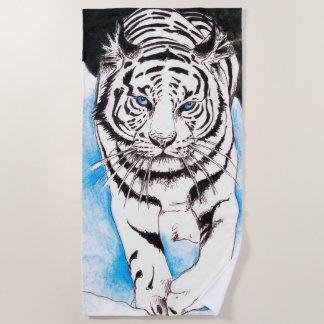 White Bengal Tiger Beach Towel