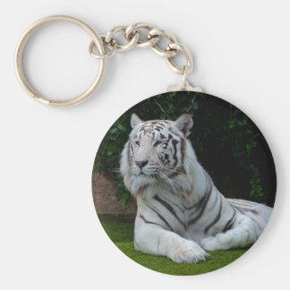 White Bengal Tiger Basic Round Button Keychain