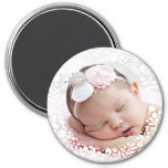 White Berry Framed Baby Photo 3 Inch Round Magnet