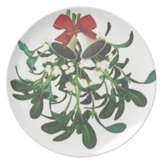 White Berry Mistletoe Plate