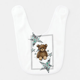 White bib with teddy and stars