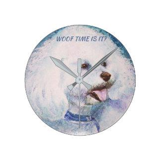 WHITE BICHON FRISE ROUND CLOCK