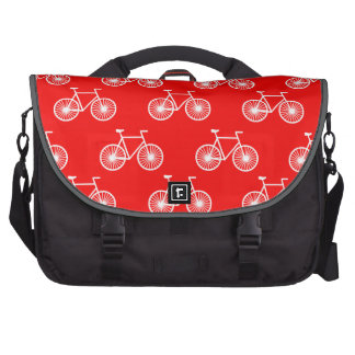 White Bicycle, Cycling Pattern; Bright Red Bags For Laptop