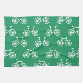 White Bicycle, Cycling Pattern; Kelly Green Kitchen Towel