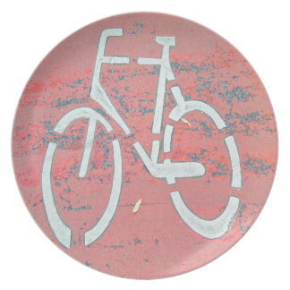 White Bicycle Red Street, Traffic Sign Bicycles Plate