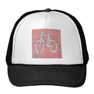 White Bicycle Red Street, Traffic Sign Bicycles Trucker Hat