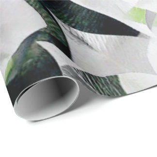 White Big Flowers Green Greenery Gray Minimal VIP Wrapping Paper