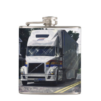 White Big Rig Truckers Lorry & Highway Truckers Hip Flask