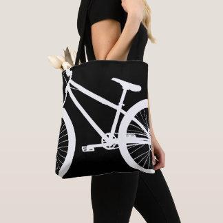 White Bike Silhouette Custom Color Tote Bag