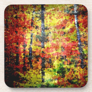 White Birch Tree Abstract Painting In Autumn Drink Coasters