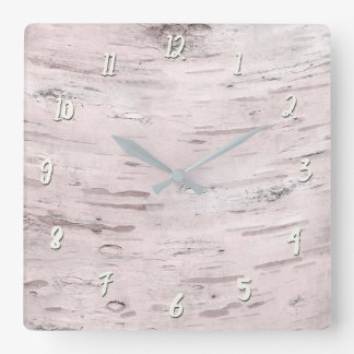 White Birch Tree Wood Rustic Barn Farmhouse Chic Square Wall Clock