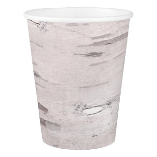 White Birch Tree Wood Rustic Barn Wedding Party Paper Cup