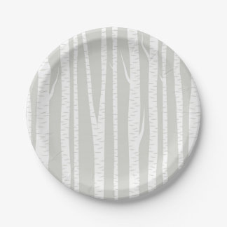 White Birch Trees Paper Plate