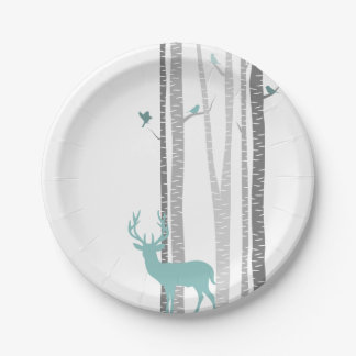 White Birch Trees with Deer and Birds Paper Plate