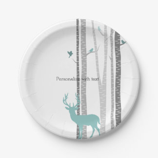 White Birch Trees with Deer and Birds Party Plate