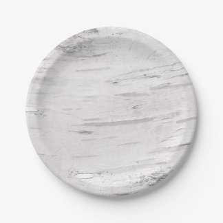 White Birch Wood Rustic Country Barn Wedding Paper Plate