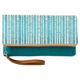 White Birches in Snow Fold-over Clutch