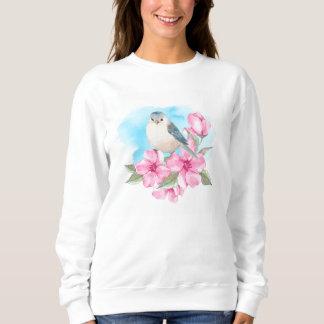 White bird. Watercolor spring Sweatshirt