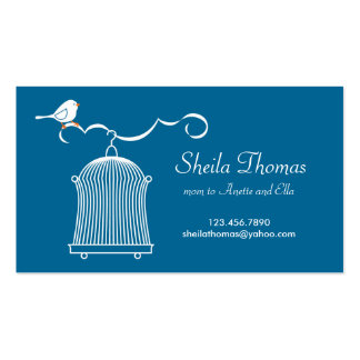 White Birdcage and Bird on Blue Background Business Card