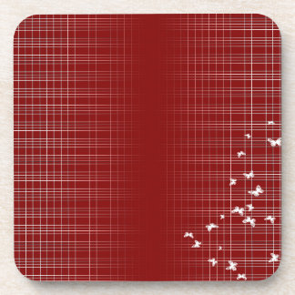 White Birds And Lines On Red Coaster