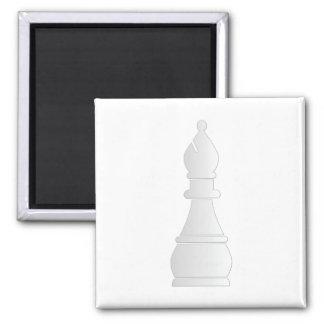 White bishop chess piece square magnet