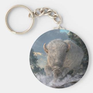White Bison Basic Round Button Keychain
