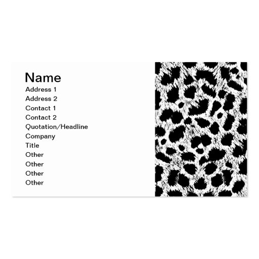WHITE BLACK ADD YOUR OWN COLOR ANIMAL PRINT PATTER BUSINESS CARD TEMPLATE