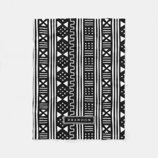 White|Black African MudCloth Inspired Personalized Fleece Blanket