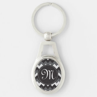 White, Black and Gray Chevron Key Chain