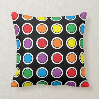 White, Black and Rainbow Polka Dots Pillow