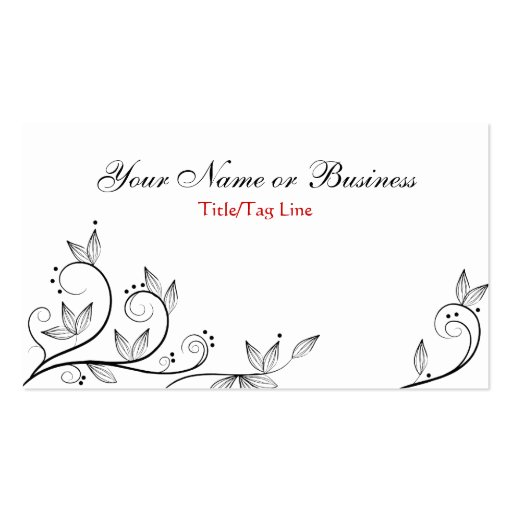 White, Black and Red Vines Business Card