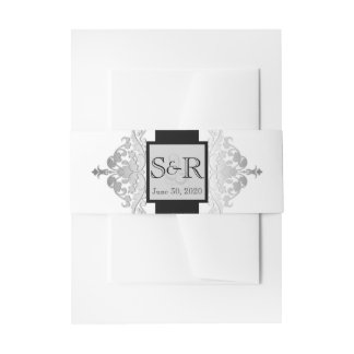 White Black and Silver Damask Wedding Belly Band Invitation Belly Band