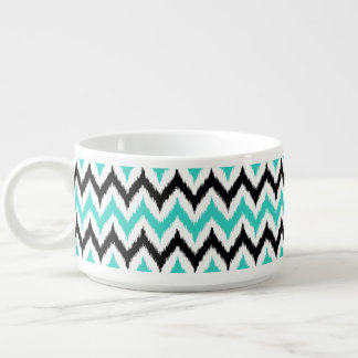 White, Black and Turquoise Zigzag Ikat Pattern Bowl