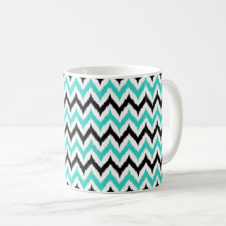 White, Black and Turquoise Zigzag Ikat Pattern Coffee Mug