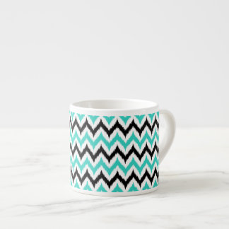 White, Black and Turquoise Zigzag Ikat Pattern Espresso Cup