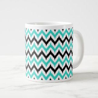 White, Black and Turquoise Zigzag Ikat Pattern Giant Coffee Mug