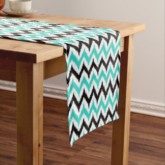 White, Black and Turquoise Zigzag Ikat Pattern Short Table Runner